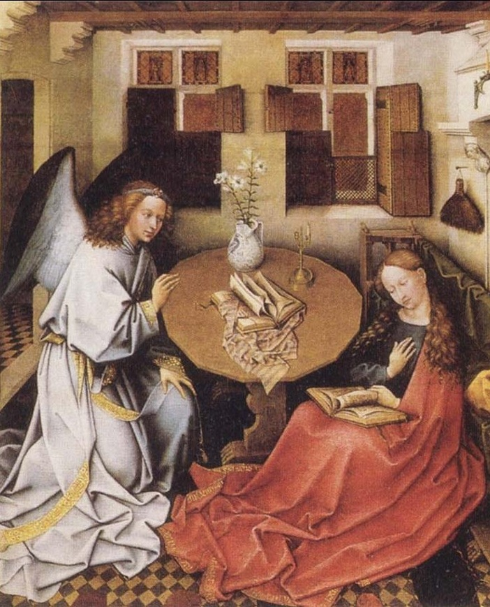 Center panel. Annunciation Triptych (Merode Altarpiece), ca. 1427–1432. Workshop of Robert Campin, South Netherlandish (modern Belgium), circa 1375-1444. Oil paint on oak. Gabriel is about to tell the Virgin Mary that she will be the mother of Jesus.  Celebrated for its detailed observation, rich imagery, and superb condition, this triptych is associated with the Tournai workshop of Robert Campin (the Master of Flémalle). Stylistic and technical evidence suggests that the altarpiece was executed in phases, probably by three painters..