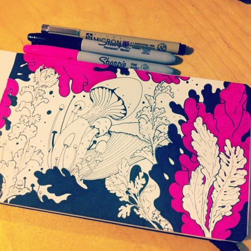 thestuntkid:  tonight is all about the plants and fungi. #moleskine #fridaynightartdorks (Taken with Instagram)