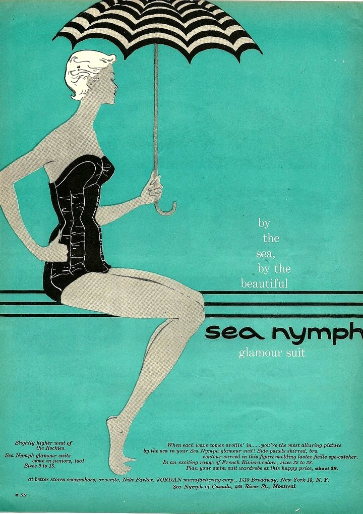 mudwerks:  (via vintage_ads: Jordan 'Sea Nymph' swimwear, 1940s (50s?))
