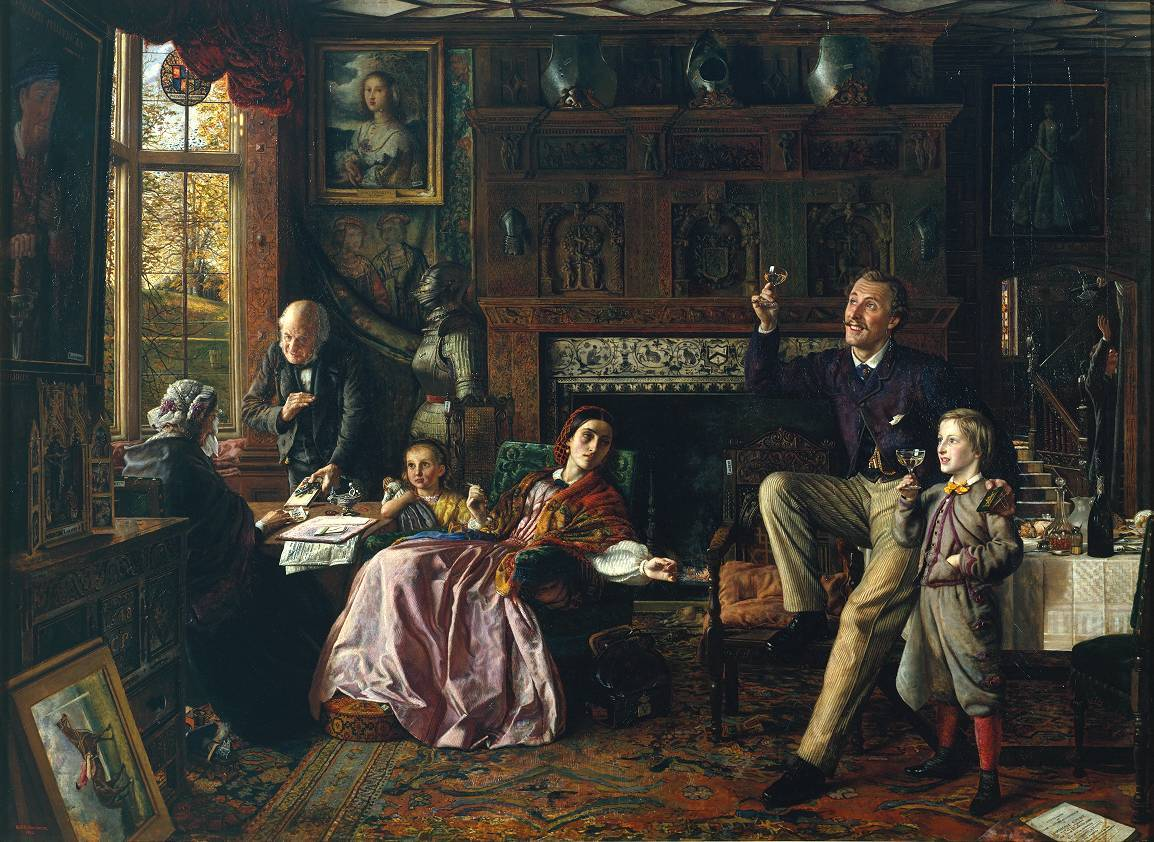Robert Braithwaite Martineau, The Last Day in the Old Home, 1862 This work is typical of the social moralist pictures that were popular in Victorian art. The Pulleyne family has been forced to sell the ancestral home, Hardham Court, and its contents, thanks to the irresponsible behaviour of a feckless spendthrift. The picture contains a number of visual clues, which, when taken together, form an elaborate narrative. Family portraits and items of furniture bearing the initials of previous Pulleynes indicate that the family has a long pedigree. The miniature case in the father's hand and the sporting print in the left foreground tell us that he has gambled his inherited fortune away on the horses. Lot numbers have been attached to various items of furniture and works of art, and, together with the Christie's catalogue on the floor, reveal that the family's possessions are soon to be sold. In the background, a man is already gathering the objects that will be sent for auction. To the left of the picture, an old woman (probably the grandmother) is giving a five-pound note to the butler, who is clutching the keys to the house. A newspaper protrudes from the blotter beside her, the word 'Apartments' clearly visible. The moral is clear: gambling only leads to debt, and the accumulated wealth of centuries can be lost in one generation. Despite the hopelessness of their situation, only the women in the family appear concerned, while the man - we learn from the sale catalogue that he is Sir Charles Pulleyne - and his son raise glasses of champagne, preferring to live for the moment. Sir Charles rests one foot carelessly on an antique chair and puts his arm around his son's shoulders. The implication is that he will pass his hedonistic lifestyle and gambling habit down to the next generation. The view out of the window, however, indicates that this family has reached the autumn of its life, and the bare branches of winter are tapping on the pane. The fire is low in the grate, and it will not be long before they are completely bereft. A pupil of William Holman Hunt, Martineau appears to have inherited his teacher's interest in social themes, as well as the Pre-Raphaelite taste for painstaking detail. The dark interior reflects the Victorian taste for heavy oak furniture and carved panelling, and yet the picture is also characterised by bright colour and contrasting patterns and textures. The richly carved mantel is based on that of the Great Chamber of Godinton Park in Ashford Kent. This house was the seat of the Toke family from 1440 to 1895.