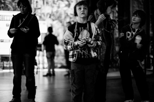 A young boy enjoys the museum wonders.