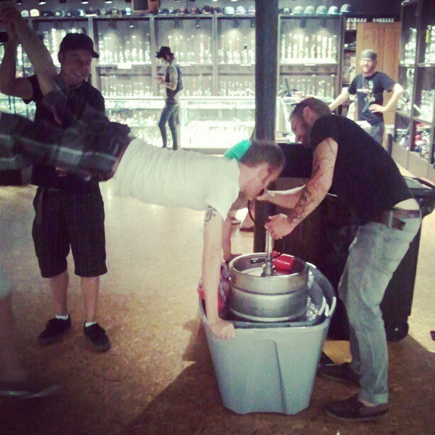 My boss doing a kegstand…. Frickin sweet #ums (Taken with Instagram at Illuzion Glass)