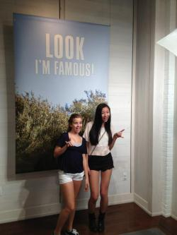 norcalchica:  taking our picture in american eagle for the times square screen(: i miss ny so much