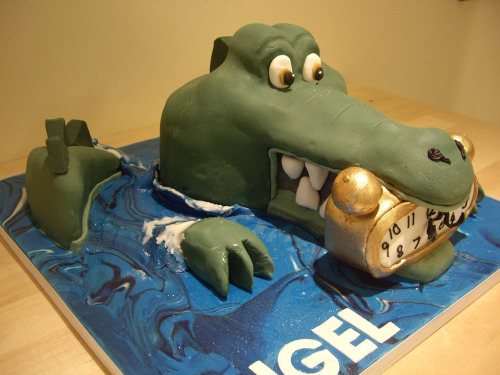 Tick tock tick tock….Peter Pan crocodile cake! (by The Foxy Cake Company)