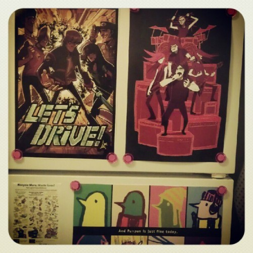 barleytea:  Being an adult means you can stick prints on your fridge right (Taken with Instagram)  My friend linked me to this 5 minutes ago!! Ahh it's so cool to see my draws on peoples walls (the punpun one) I wonder if it's still there.
