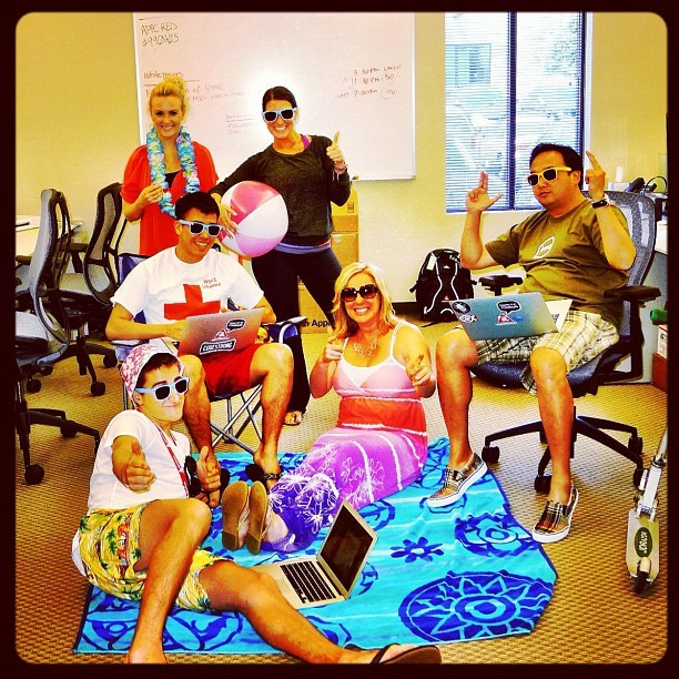 I hate wearing pants on Fridays. So we created Beachwear Fridays at @appcelerator. (Taken with Instagram)