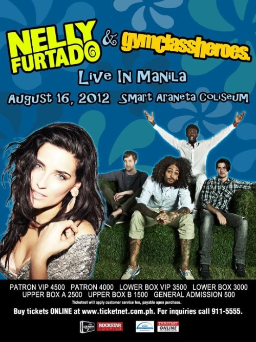 Nelly Furtado and Gym Class Heroes will be partying with us live here in Manila at August 16, 2012 at The Big Dome, Araneta Coliseum!