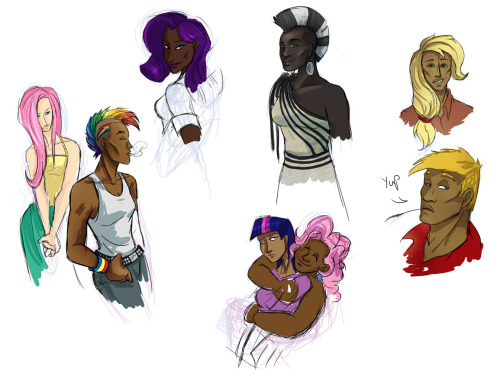 mlpendlessnight:  So I started drawing humanized ponies and it turned into let's do not-white versions of almost everyone. Because the fandom can always use more of that :) I usually headcanon RD, Rarity and Twilight as PoC anyway. Fluttershy ended up the token white kid, because I dunno. The Apple family ended up being Native America, because I've seen that once or twice and I like the idea. Rainbow Dash and Rarity secretly get along really well. They hang out, pluck eyebrows and do their hair, because it takes them both hours for their particular styles. (I really just wanted to draw Zecora and here you go) (also chubby Pinkie deal with it)