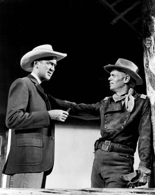 "lars134:  Jimmy Stewart and Richard Widmark in ""Two Rode Together"" (1961)"