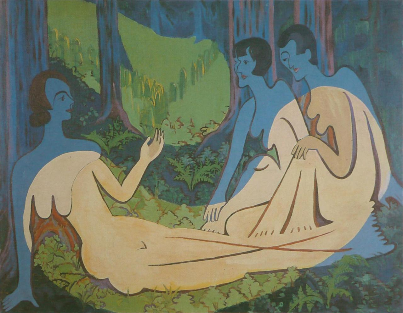 drunkcle:  Three Naked in the Forest (1934-35) by Ernst Ludwig Kirchner