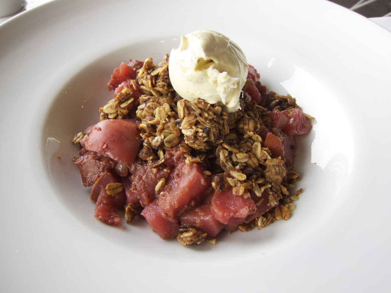 Baked winter fruit crumble with vanilla mascarpone