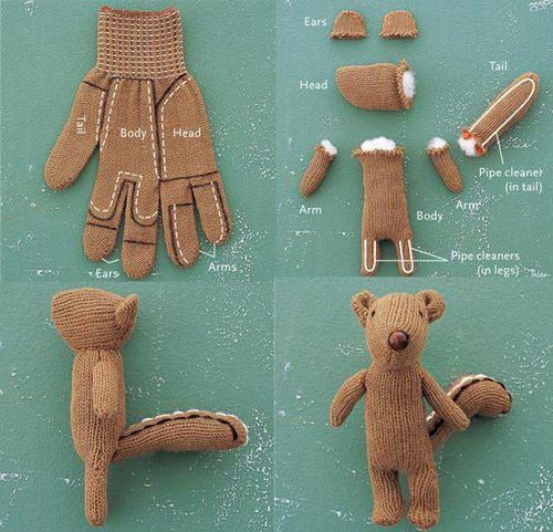 mysrtwardrobe:  Turn one of your gloves into this cuddly bear. Instant gift for the younger ones!