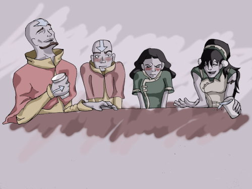 "At The Table by ~Music-Books-Art Aang: ""Haha! Tenzin CRIED when he got his airbending tattoos!""Toph: ""Ahaha! Twinkletoes, Lin was trying to see with her feet, and walked straight into a wall! Fell right on her butt!""[link]^ This deviation inspired me to draw this one ^_^ I was thinking they're at a dinner party and this is part of the table. I was considering drawing the rest of the table: with katara, zuko, sokka, suki, and everyone.At The Table 2:[link]At The Table 3:[link]"