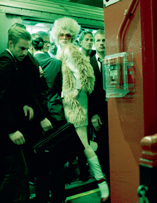 The A Train. Raquel Zimmermann in Prada Fall 2011, photographed by Steven Meisel for Vogue Italia, November 2011.