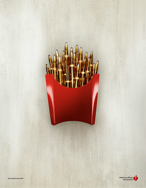 thekhooll:  Killer Fries by Greg Slater This poster for the American Heart Association is as effective in transmitting its message without a single word as it is beautiful.