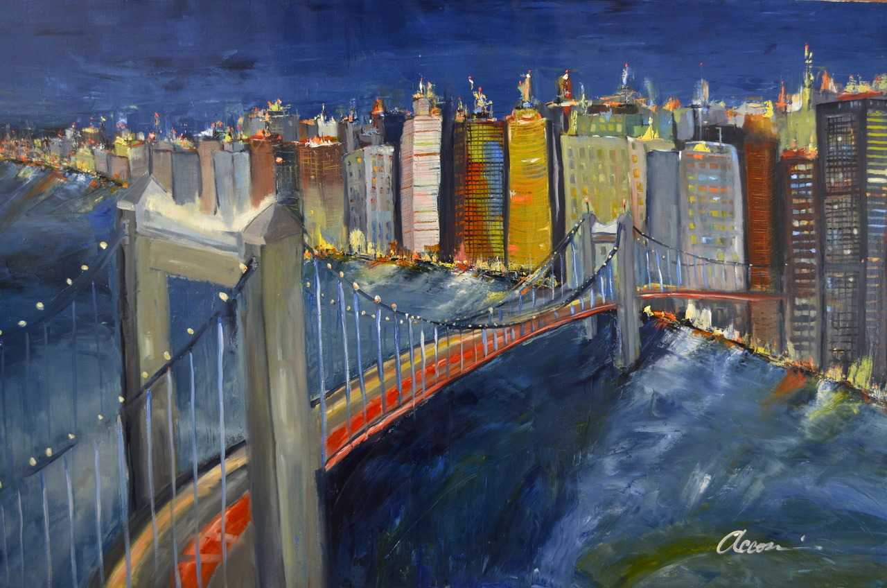 E'gongyan Bridge.  oil on canvas. 160 cm x 100 cm. (43 x 60 in.) ©Accorsi Studios, 2012.