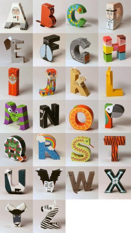 Papercraft Alphabet These adorable letters have been created by Markus Fischer. Markus has kindly shared a PDF of each character, so that you can print, cut out and glue them together, making your own alphabet.  Wonderful designs. I love the little A for Astronaut and N for Ninja. prettylittlepieces:  26 Paper Craft Templates For All Letters of the Alphabet (each an animal, thing, or people starting with that letter)