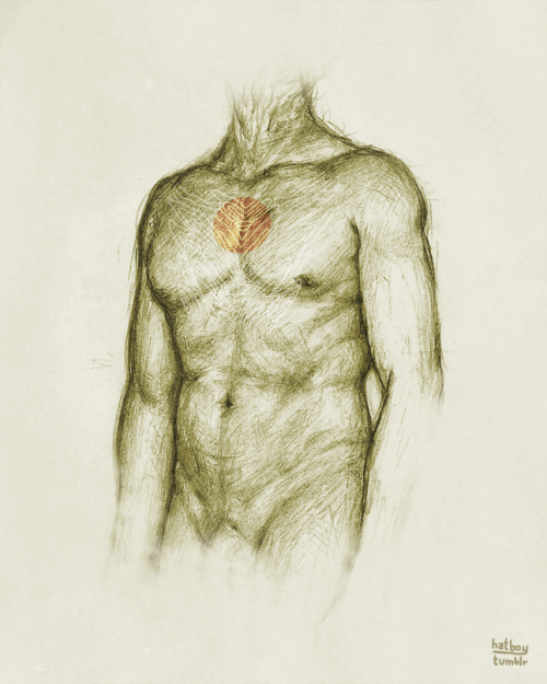 Torso {6.18.2012}  Drawing from life. Graphite + Photoshop.
