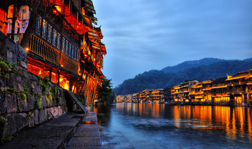 """Fire !!!"" by Jumrus Leartcharoenyong Fenghuang Ancient Town is located in Xiangxi Prefecture, Hunan Province, People's Republic of China."