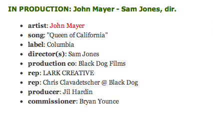 Apparently Sam Jones directed the video for 'Queen Of California', can't wait to see the final result!