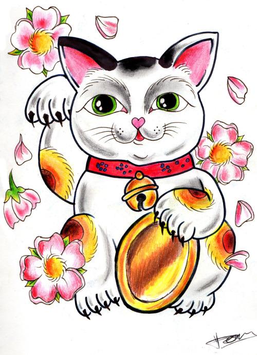 maneki neko giantbuzzkill japanese lucky cat tattoo design. Black Bedroom Furniture Sets. Home Design Ideas