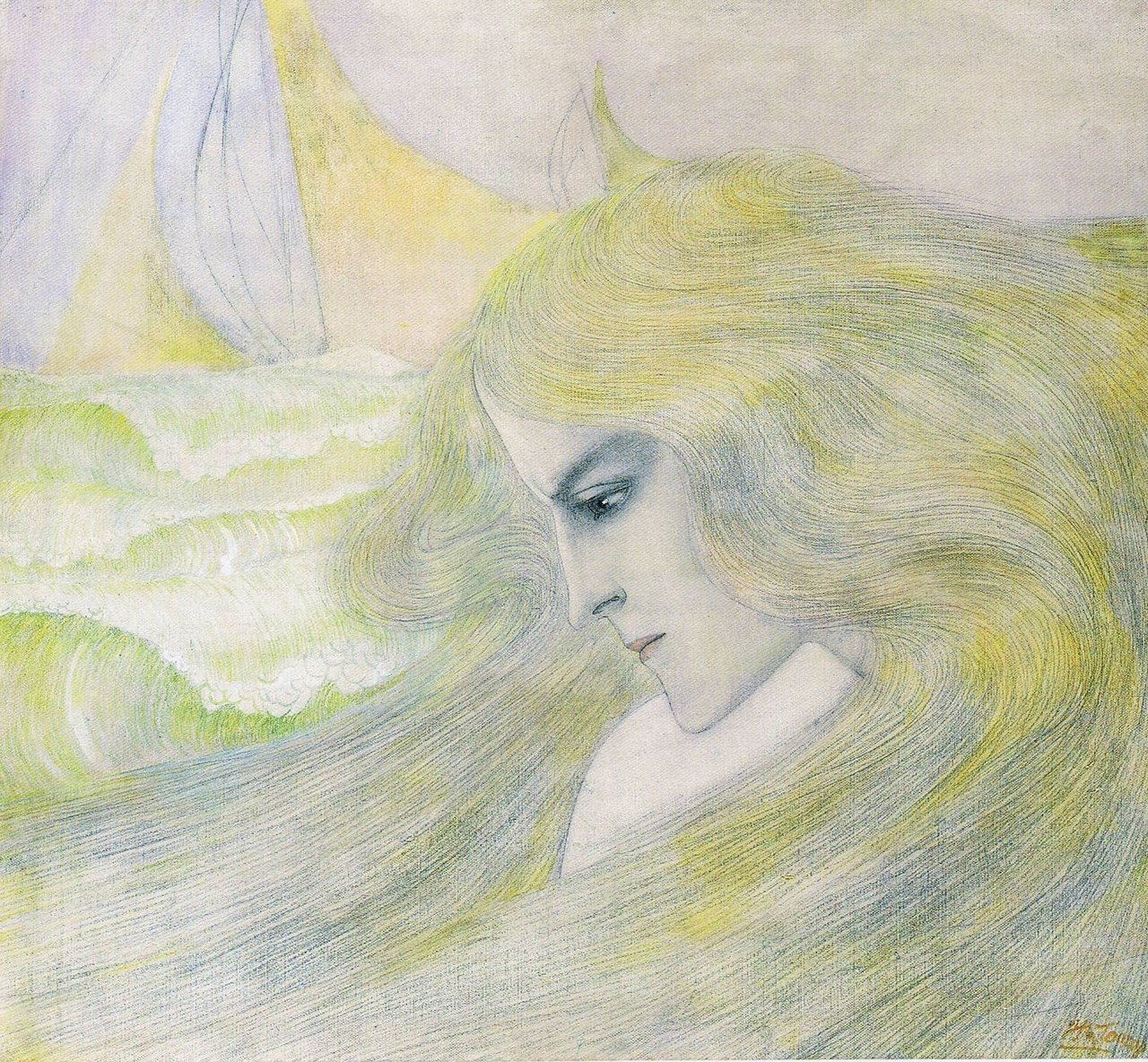 colourthysoul:  Jan Toorop - Oceanide (1893)