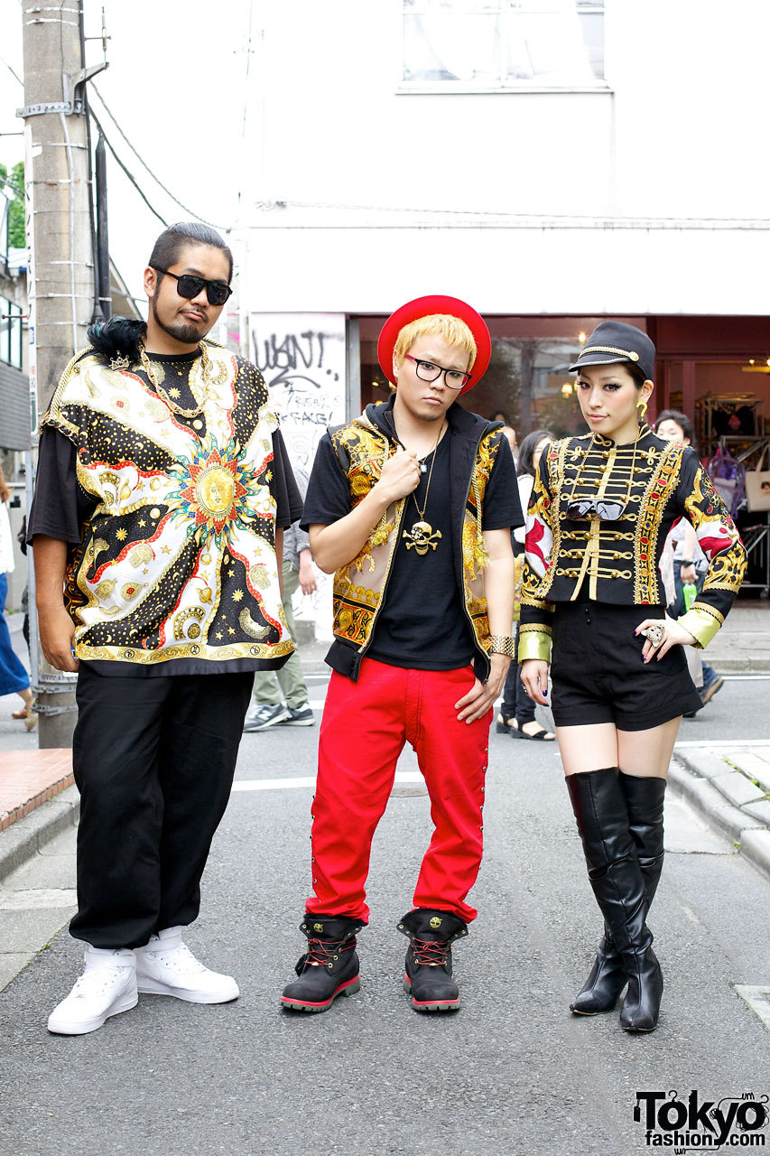 The indie J-Pop group Loco Mack wearing remake Versace & So What? on the street in Harajuku.