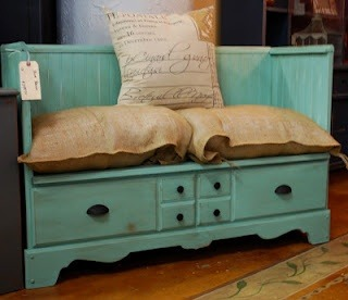 Turn an older dresser into a bench!
