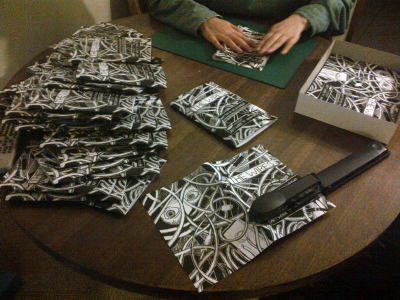Assembling copies of The Wires in superquick time (thanks to some girlfriend-shaped assistance). It looks SO GOOD and shiny. On sale this Thursday in the Scotia, Glasgow: COMICS NIGHT with Team Girl Comic and elsewhere soon. If you fancy a copy though, get in touch!