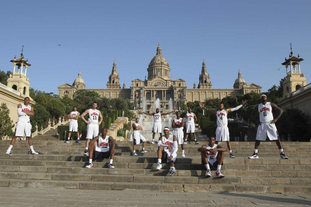 nba:  July 20, 2012: USA Senior Men's National Team in front of the hill of Montjuic in Barcelona, Spain. (Photo by Catherine Steenkeste/NBAE via Getty Images)