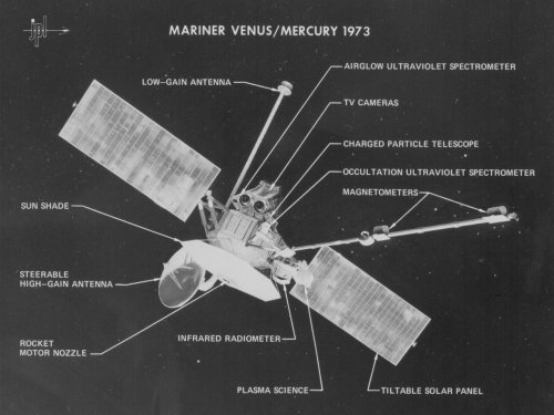 spacewatching:  On Nov. 3, 1973, the Mariner Venus/Mercury 1973 spacecraft, also known as Mariner 10, was launched from NASA's Kennedy Space Center, becoming the first spacecraft designed to use gravity assist. Three months after launch it flew by Venus, changed speed and trajectory, then crossed Mercury's orbit in March 1974. This photo identifies the spacecraft's science instruments, which were used to study the atmospheric, surface and physical characteristics of Venus and Mercury.