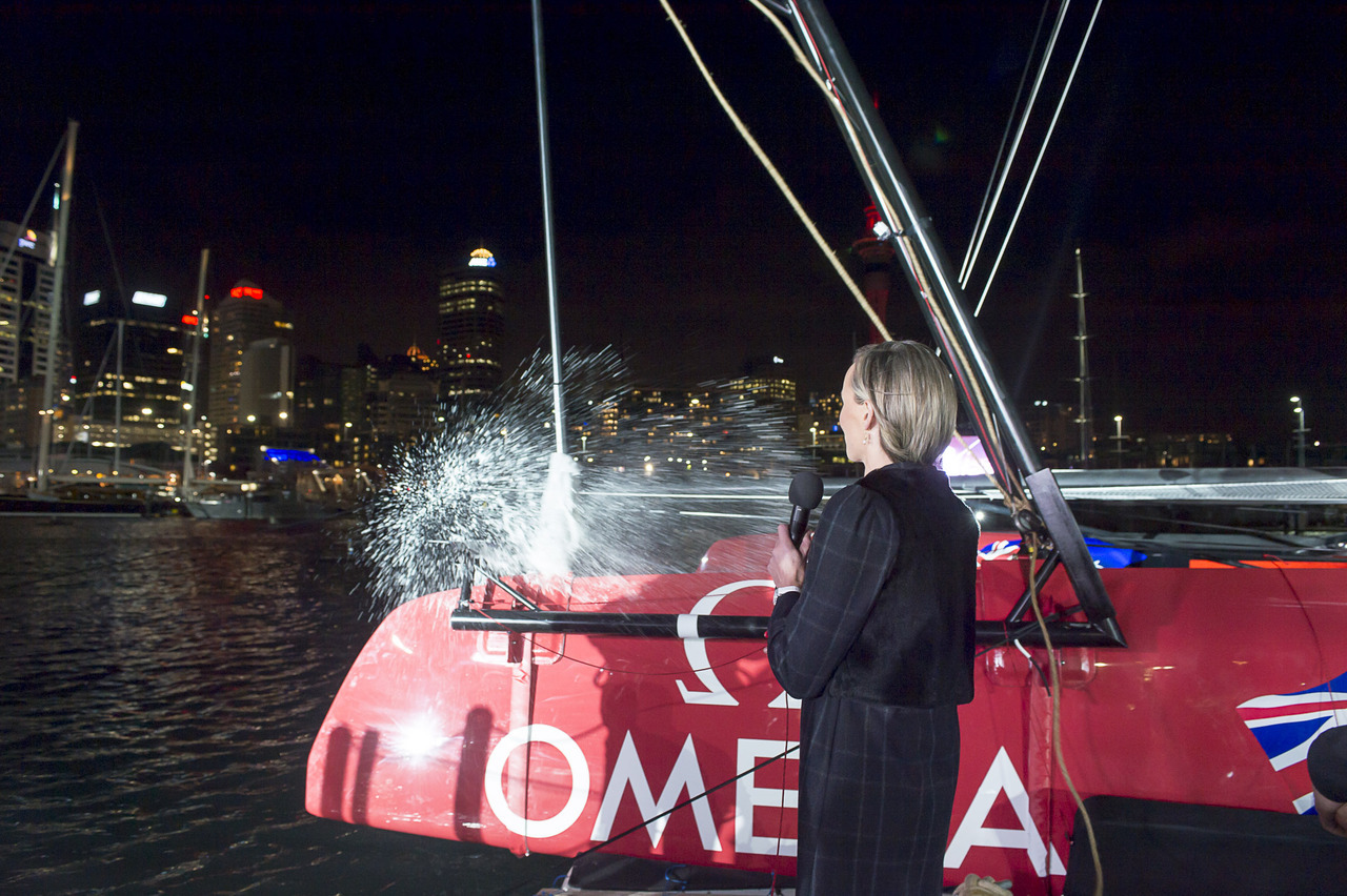 'New Zealand' Emirates Team NZ's AC72 christened by Mandy Barker