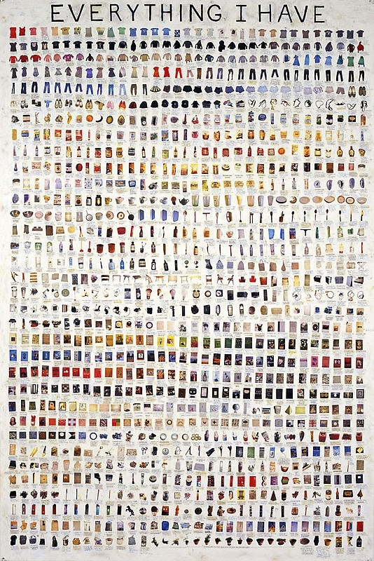 thingsorganizedneatly:  Simon Evans, Everything I Have, 2008. Pen, paper, scotch tape, white out 60 1/4 x 40 1/8 inches