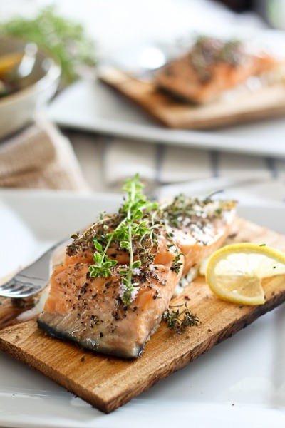 Cedar Plank Fresh-water Salmon in Riverrun