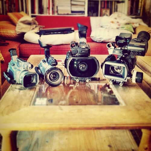 The Sony Empire Strikes Back 🎥✌ a.k.a camera cleaning day 😉 #sony #camcorder #hd #minidv #xdcam #3ccd #exmor #sensor #vx1000 #vx2000 #ex1 #ex3 #fisheye #lens #adaptor #centuryoptics #deathlens #rig #filmmaking #cameras #iphone4 #iphoneonly #cameraplus #tape #sd  (Taken with Instagram)