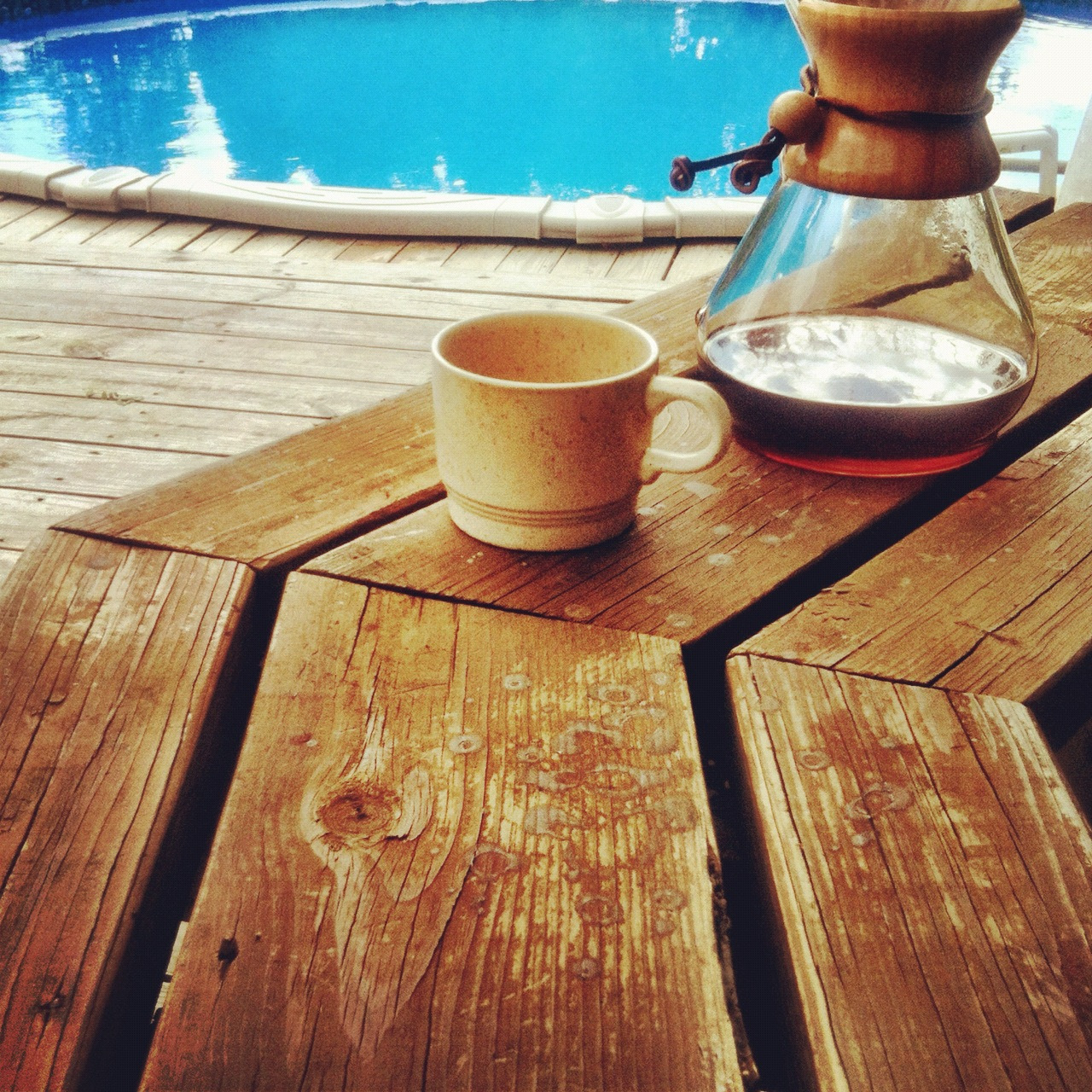 Poolside this morning. Drop Coffee's Guatemala La Folie is kinda like a caramel apple. Chemex—31g:500mL