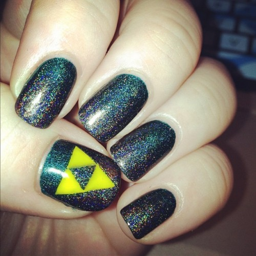 Turned my gradient mani into a Zelda one (Taken with Instagram)