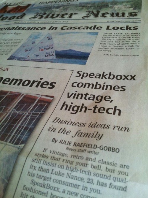 SpeakBoxx gets page one in Hood River News!