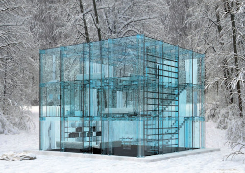 "Glass House by Santambrogiomiliano If you were to live in this house then the phrase ""people who live in glass houses shouldn't throw stones"" should be taken literally."