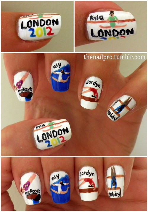 thenailpro:  london 2012 gymnastics nails.. can you tell i'm excited for the olympics?  message if you're interested in colors used!