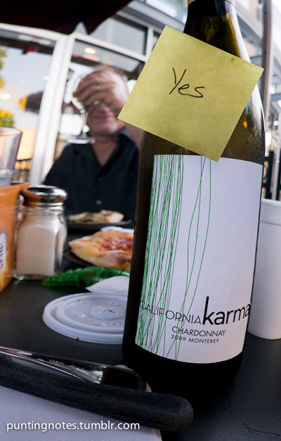California Karma— Yes! Last night @SpinPizza we bought this bottle only $18. Delicious and if I find it at the store I'm buying some. 2009,Monterey California Chardonnay