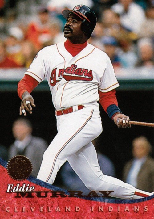 Random Baseball Card #1341: Eddie Murray, designated hitter/first baseman, Cleveland Indians, 1994, Leaf.