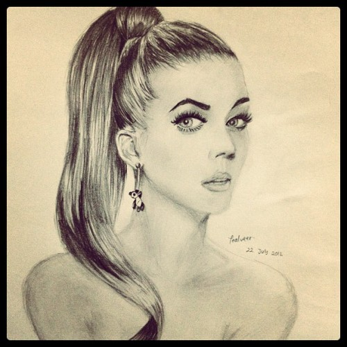 It doesn't look anything alike but hey, it's #katyperry #drawing #pencils (Taken with Instagram)