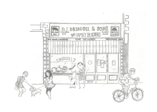 'Driscoll Days'  Featuring D.J Driscoll Butcher Shop on Cathedral Road, Pontcanna  Pencil on Paper, digital collage.  Prints available £35
