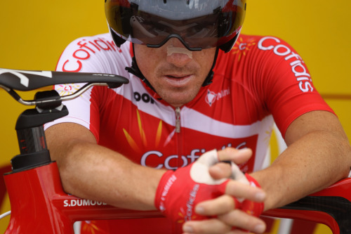 Samuel Dumoulin of Cofidis during stage nineteen of the 2012 Tour de France, a 53.5km time trial from Bonneval to Chartres on July 21, 2012 in Chartres, France. (Photo by Bryn Lennon/Getty Images) (via Le Tour de France 2012 - Stage Nineteen - Yahoo! Sports Photos)
