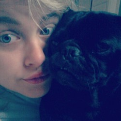 He's ashamed to be seen with me most days. #pug #pugs #pugsofinstagram #StarWarsPets #Vader #instasheila #bedhead #sleptin (Taken with Instagram)