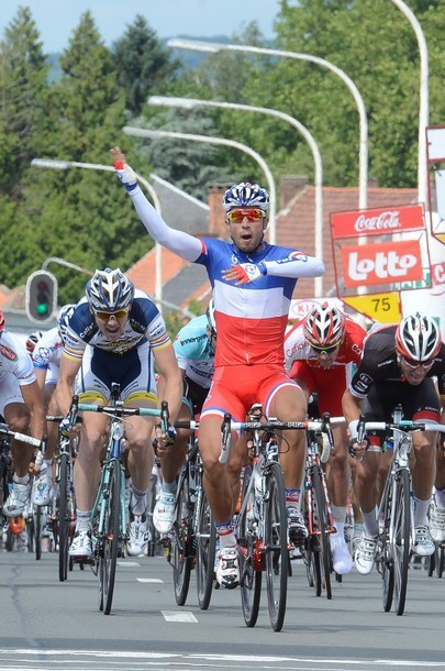 France national champion Nacer Bouhanni wins the first stage of the Tour De Wallonie cycling race, 159.7 km from Tournai to Lessines, on July 21, 2012. (via Photo from Getty Images)