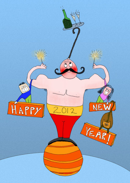Happy New Year Card 2012Personal ProjectResponsibilities: art direction, illustration & coloringCredits: Shalea Oretzky - illustration  We print this happy new years card at the top of the year and sent it out to friends and clients alike.
