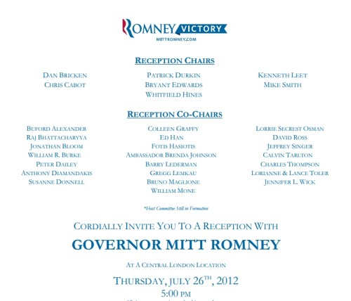 The main reception chair of Mitt Romney's London fundraiser is a man named Dan Bricken. Who as shown by his LinkedIn profile is a former Wells Fargo investment banker, and now an advisor at the asset stripping and job outsourcing Bain Capital that Romney has attempted to distance himself from. It's appropriate that he'd fundraise in the white-collar criminal cesspit of the City of London, bearing in mind of the donations the Romney campaign has received from UK banks like the Libor-rigging Barclays and taxpayer-bailed out RBS.