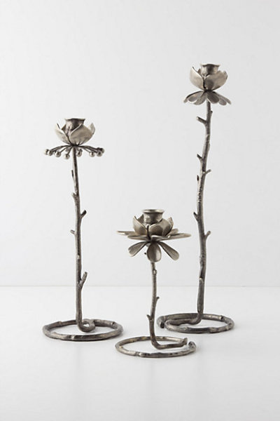Winter Rose candlestick holders for Lyanna Stark